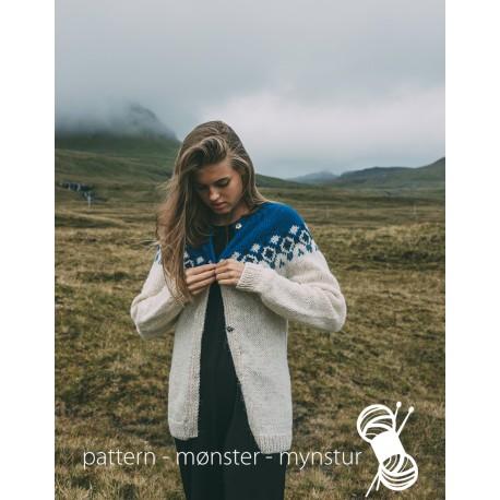 Cardigan med færøsk rundmønster