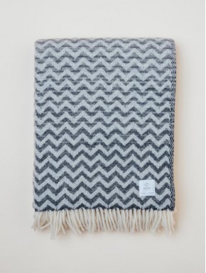 Grey woven blanket with a wavy pattern