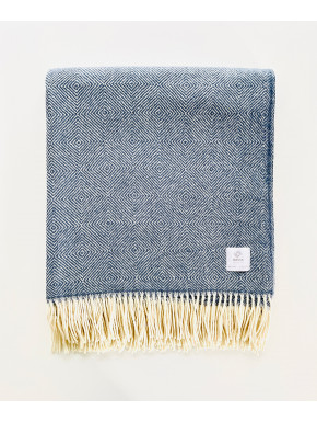 Blue merino blanket with pattern