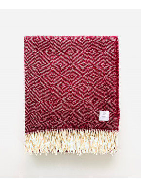 Red merino blanket with pattern