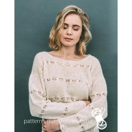 Hvid bluse med blondemønster