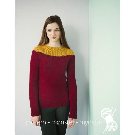 Mørkerød og karrygul sweater