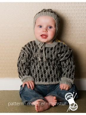 Sweater og hue med mønster