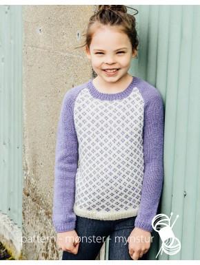 Mønstret trøje med ensfarvede ærmer